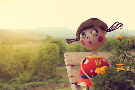 lovely doll in pai north of thailand vintage light filter 写真素材