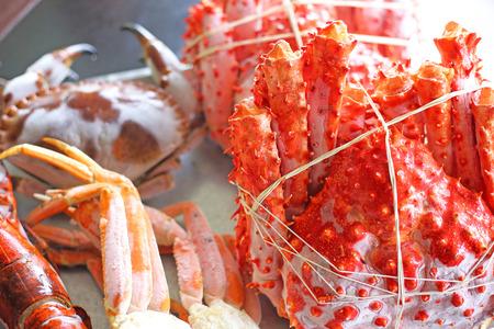 Fresh Red King Crab at seafood market.