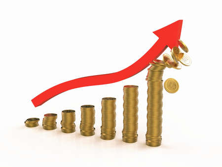 increasing: Business graphic depicting increasing profits