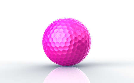3d ball: Pink golf ball isolated on white background Stock Photo