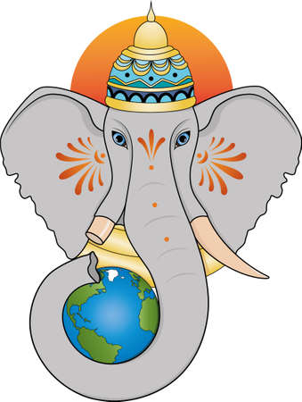 Ganesha in the crown holds the Earth with his trunk. The head of an elephant.  イラスト・ベクター素材