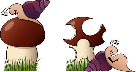 The snail wanted to eat the mushroom and ate too much. Two images before and after.