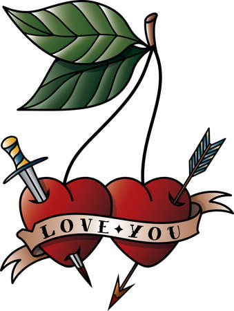 Cherry tattoo with the words love you Stock Illustratie