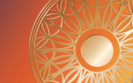 Bright orange background with a gold three-dimensional pattern. Vector mandala. Lace circle. Space for text in the circle. Illusztráció