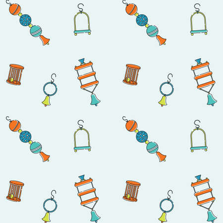 Seamless bright pattern for pet store bird toys