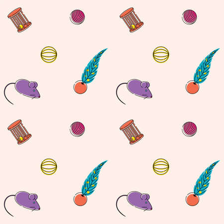 Seamless bright pattern for pet store cat toys