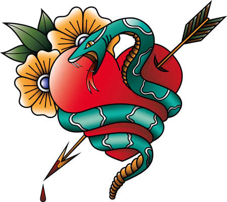 A rattlesnake encircling a heart pierced by an arrow. American traditional tattoo. Old school.