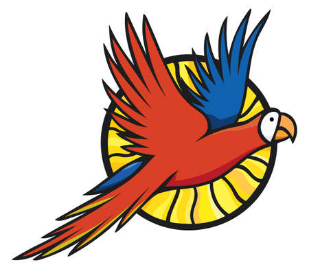 Red and yellow macaw flying on the background of the sun. Bright vector illustration. Ilustracja