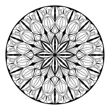 Gothic and ethnic pattern. Black and white art line. Elegant mandala. Art therapy, coloring book for dealing with stress.