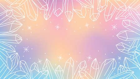 Vector watercolor background with outline of quartz minerals and precious stones. Esotericism and magic. Alternative medicine.