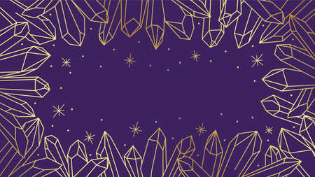 Golden luxury purple wallpaper with a subtle outline of magical healing crystals. Pixiecore and fairycore. Vecteurs