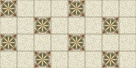 Geometric background square tiles with an ethnic pattern in beige and green colors mixed with marble tiles