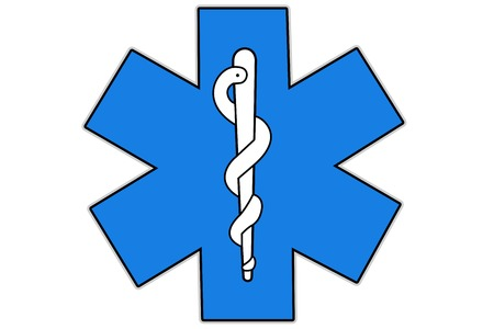 star of life: Health care International symbol isolated on white background, Strella of life,  six-pointed star, At six bars was given a meaning related to business services and  health emergency