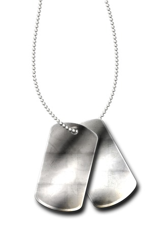 american army: Blank army dogtags on white background insert your own name or message. Stock Photo