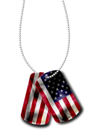 painted dog: American military dog tags identity plates painted with the flag of the United States. patriotic symbol for US soldiers. isolated on white background.