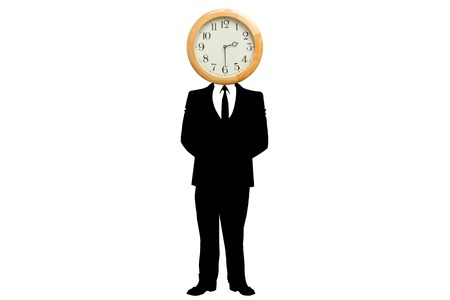 replaced: Illustration of smartly dressed businessman in dark suit, white shirt and tie with his head replaced by a clock, white background. Concept of problem with time, work stress, struggle with time.