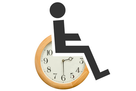 devote: Widely recognized disability symbol place on a clock, white background, concept of devoting time to help people who are disabled. .