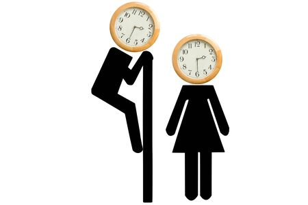voyeur: Watch the time, wrong time, inopportune time, watching time. A man climbing over a wall looking at a woman. all with a clock on their heads