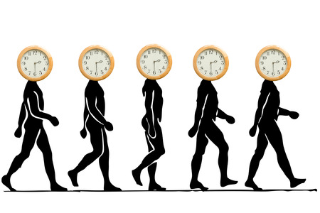 the passing of time: Time is moving, time is passing by, time never stops. Walking men with a clock for head.