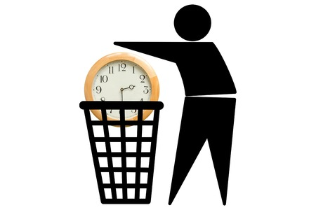 managing waste: The image of a man who wastes time. We often do not give enough importance to time, we take it for granted and do not know to use it well. Wasting time concept.
