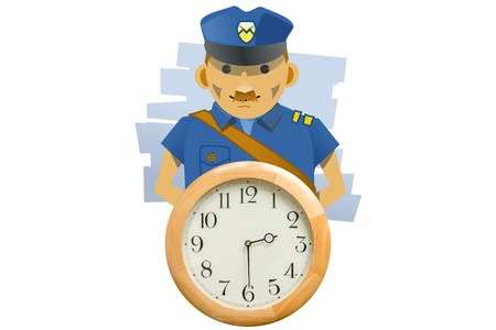 Policeman and wall clock. Arresting or stopping time metaphor. Isolated on white background. Stock Photo
