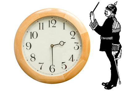 obey: Controlar el tiempo, ordenar el tiempo, obedecer a la vez. Metafóricamente una persona en uniforme que detiene el tiempo.