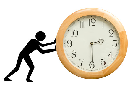 wooden clock: Silhouette of man pushing a wooden clock, moving time. Time never stops concept. Isolated on white background.