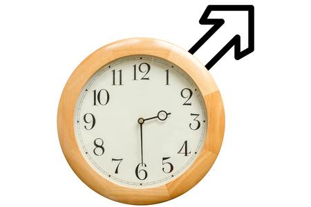 symbols  metaphors: A clock with an arrow sign to rapresent the woman symbol Stock Photo