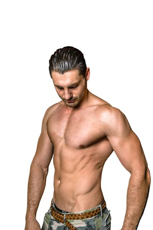 bare chested: Half body portrait of a sexy bare chested man on white studio background. Isolated. Stock Photo