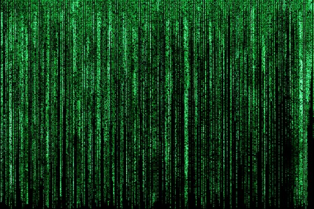 Big green matrix background, computer code with symbols and characters.
