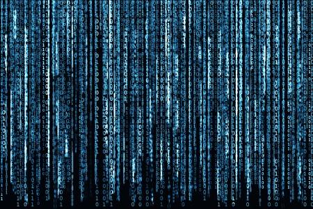 매트릭스 배경, 이진 문자가 빛나는 컴퓨터 코드와 빅 블루 이진 코드입니다. 스톡 콘텐츠