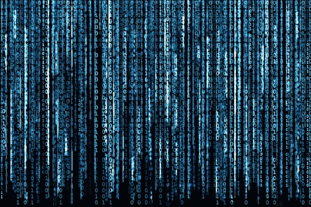 Big Blue Binary code as matrix background, computer code with binary characters shining.