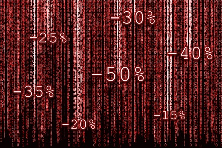 percentages: Red Binary code as matrix background with binary characters and discount percentages for Christmas sale. Stock Photo