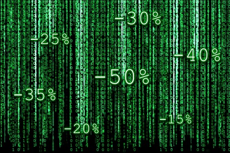 percentages: Green Binary code as matrix background with binary characters and discount percentages for Christmas sales.