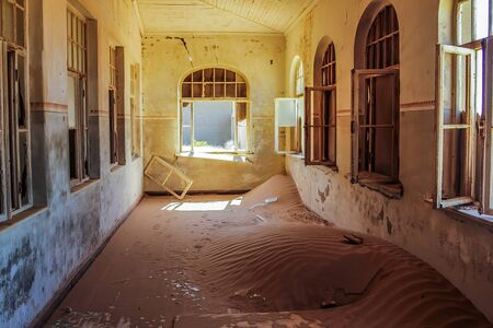 The interior of a house in Kolmanskop, a ghost town in the area of the diamond mines, Namibia.