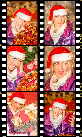 malice: Movie sequence of six portraits of a beautiful woman with a Santa Claus hat, with different expressions of joy, surprise, malice, enthusiasm, during the Christmas shopping Stock Photo