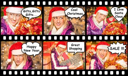 enthusiasm: Comincs sequence of six portraits of a beautiful woman with a Santa Claus hat, with different expressions of joy, surprise, malice, enthusiasm, during the Christmas shopping