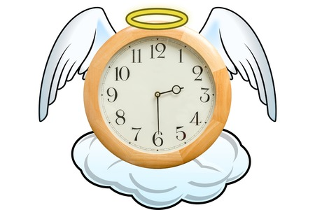 time flies: Clock on a cloud with angels wings and a golden halo, white background. Concept of paradise, peaceful death, magical time, time flies. Stock Photo