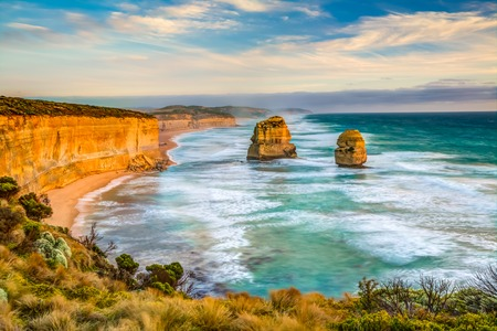 gibson: Top view of Gibson Steps by the Twelve Apostles in Port Campbell National Park on the Great Ocean Road, Victoria state, Australia.