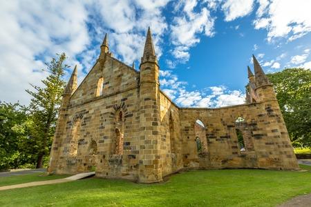 desecrated: Ruins of the Church Convict, ancient historic church convict settlement, at Port Arthur Historic Site, Tasmania, Australia. Port Arthur until 1877 was a penal colony for prisoners. .