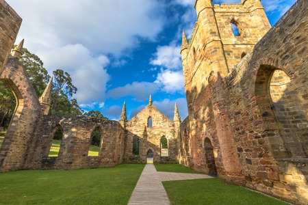 desecrated: Ruins of the Church Convict, ancient historic church convict settlement, at Port Arthur Historic Site,  Tasmania, Australia. Port Arthur until 1877 was a penal colony for prisoners. . Stock Photo