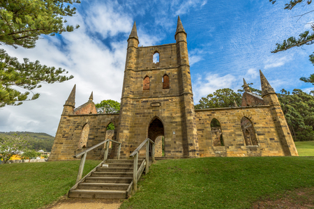 desecrated: Ruins of the Church Convict, ancient historic church convict settlement, at Port Arthur Historic Site, in Tasman Peninsula, Tasmania, Australia. .