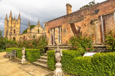 政府コテージ ポート Arthur 史跡、1877 年まで、囚人の流刑地だった。サイトは、タスマン半島、タスマニア、オーストラリアにあります。