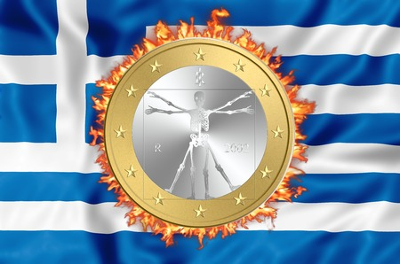 greek currency: Greece and euro on fire. Business concept of failure, debit,bankruptcy,default, currency exit and euro destroing greek economy