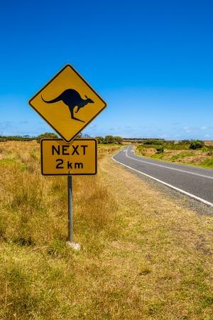 Warning sign for kangaroo crossing on Austalian country road.