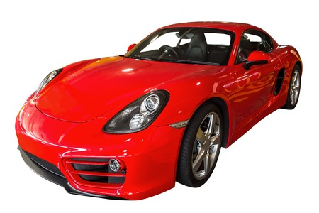 turbo: Side view of a red turbo sport car, isolated on white background. Stock Photo