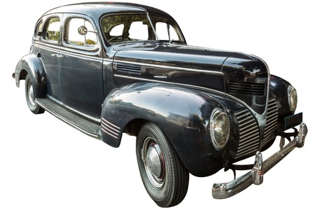 dodge: Side view of Dodge four door Sedan 1939 vintage luxury car, isolated on white background.