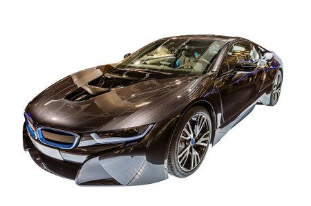hybrid car: A BMW i8 hybrid car isolated on white background. Editorial