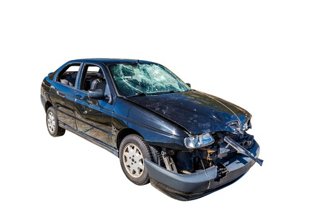 Damaged car wreck on white background