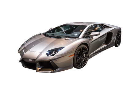 Closeup of a luxurious Lamborghini Aventador sports car isolated on a white background. 에디토리얼